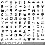 100 camping icons set, simple style. 100 camping icons set in simple style for any design vector illustration Royalty Free Stock Images
