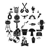 Camping icons set, simple style. Camping icons set. Simple set of 25 camping vector icons for web isolated on white background Stock Photo