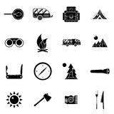 Camping icons set, simple style. Camping icons set in simple style. Outdoor elements set collection vector illustration Royalty Free Stock Images