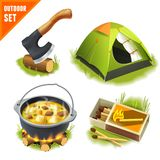 Camping icons set Royalty Free Stock Photos