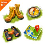 Camping icons set Royalty Free Stock Images