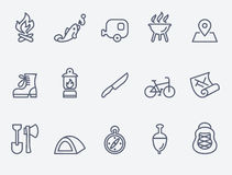 Camping icons. Set of 15 Camping icons. Thin lines vector illustration