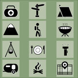Camping icons set Royalty Free Stock Photography