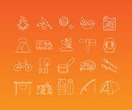 Camping  icons set. Tourism, hiking, travel and camping equipment linear pictograms. Vector set of 20 icons in trendy mono line style Royalty Free Stock Photos