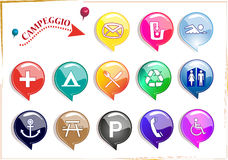 Camping icons. Set of vector icons for camping Stock Photo