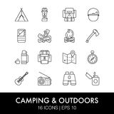 Camping icons set Royalty Free Stock Image