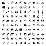 100 Camping icons set. On white background vector illustration