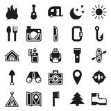 Camping icons set on white background. Created For Mobile, Web, Decor, Print Products, Applications. Icon . Vector illustration Stock Image
