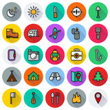 Camping icons set on white background. Created For Mobile, Web, Decor, Print Products, Applications. Icon . Vector illustration Stock Illustration