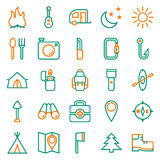 Camping icons set on white background. Created For Mobile, Web, Decor, Print Products, Applications. Icon . Vector illustration Stock Photo