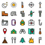 Camping icons set on white background. Created For Mobile, Web, Decor, Print Products, Applications. Icon . Vector illustration Stock Photos