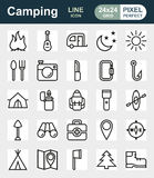 Camping icons set on white background. Created For Mobile, Web, Decor, Print Products, Applications. Icon . Vector illustration Stock Photography