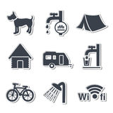 Camping icons - stickers Royalty Free Stock Images