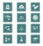 Camping icons || TEAL series Royalty Free Stock Images