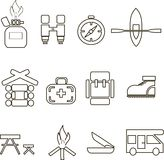 Camping icons, thin black lines on white, graphics. Gas bottle, binoculars, compass, boat, a house, medical care, backpack, shoes, Stock Image