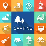 Camping icons Travel and Tourism concept.  Vector Royalty Free Stock Photos