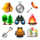 Camping icons vector set Royalty Free Stock Photography