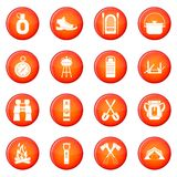 Camping icons vector set Royalty Free Stock Image