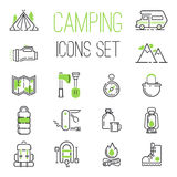 Camping icons vector set. Summer camping icon vector set. Folding knife inflatable boat, mountains camping icons. Camping icons compass travel campfire outdoor Royalty Free Stock Images
