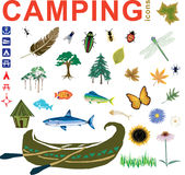 Camping Icons Vectors. Camping and fishing icons and vectors including fish, canoe, butterfly, trees, bugs and feather and flowers Stock Photo