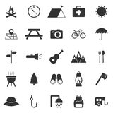 Camping icons on white background Stock Photos