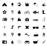 Camping icons. On white background. Vector illustration Royalty Free Stock Photo