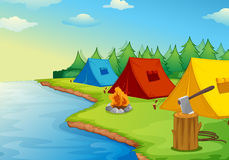 Camping. Illustration of camping near a river in the nature Stock Photos