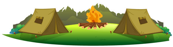 Camping. Illustration of camping site on a white background