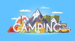 Camping  illustration. Stock Photos