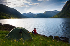 Camping In Mountains Near Lake Stock Images
