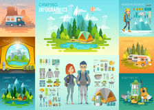 Camping Infographic, mountaineering, caravan, house on weels, equipment. vector illustration