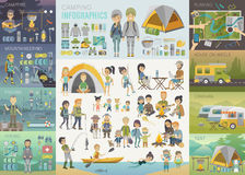 Camping Infographic set with people and objects. stock illustration
