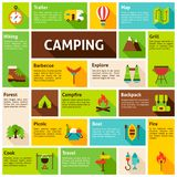 Camping Infographics Design. Elements for mobile and web applications with long shadow Royalty Free Stock Image