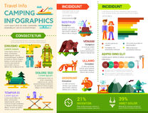 Camping Infographics - poster, brochure cover template Stock Photos