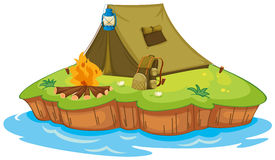 Camping on an island royalty free illustration