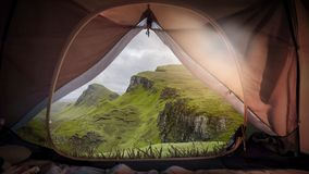 Camping Isle of Skye. Camping in the wilderness of the scottish isle of skye near the quirang mountain range royalty free stock photography