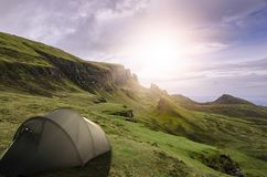 Camping Isle of Skye. Camping in the wilderness of the scottish isle of skye near the quirang mountain range stock photos