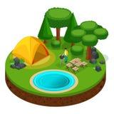 Camping isométrique, homme faisant cuire BBQ de biftecks, récréation extérieure, nature, lac, forêt, tente, dîner avec des amis illustration stock