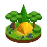 Camping isométrique, récréation extérieure, tente, paysage pour des jeux vidéo, belle conception Forest Stones Nature Freedom illustration stock