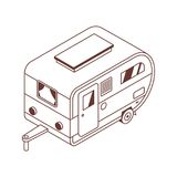 Camping Isometric Trailer in Line Art royalty free illustration