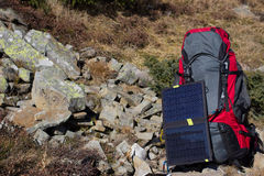 Camping items of equipment on a sunny day Royalty Free Stock Photography