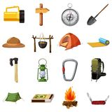 Camping items icons set, cartoon style Stock Photos