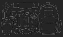 Camping items set. Chalk Stock Image
