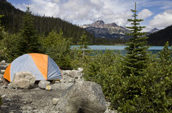 Camping by Joffre lake Stock Image