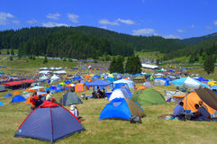 Camping juste de Rozhen, Bulgarie Images stock