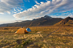 Camping on Kamchatka. Stock Photo