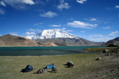 Camping at Kara Kul lake Stock Images
