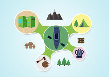Camping and kayak graphic in round style, outdoor Royalty Free Stock Images
