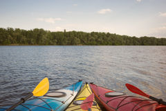 Camping with kayaks on the beach. Stock Images