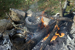 Camping kettles Stock Photos